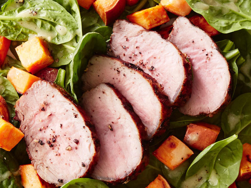 Day 2 Lunch: Easy Herbed Pork Tenderloin and Spinach Salad With Roasted Sweet Potatoes