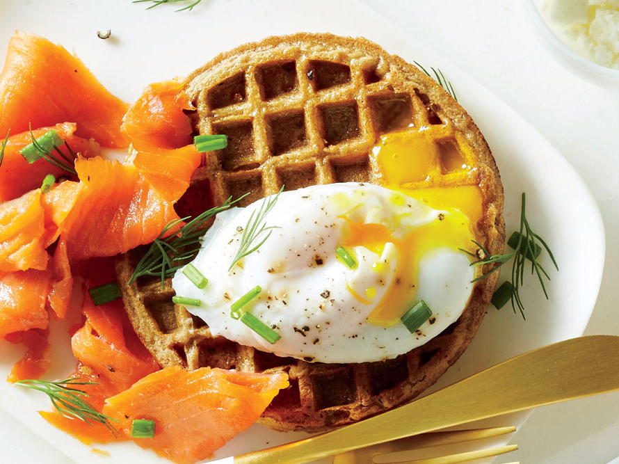 Swaps your syrup for smoked salmon and a poached egg seasoned with fresh dill and chives, and you'll save yourself 20g of added sugar. Look for frozen whole-grain waffles with less sugar and more protein to really start your day right.