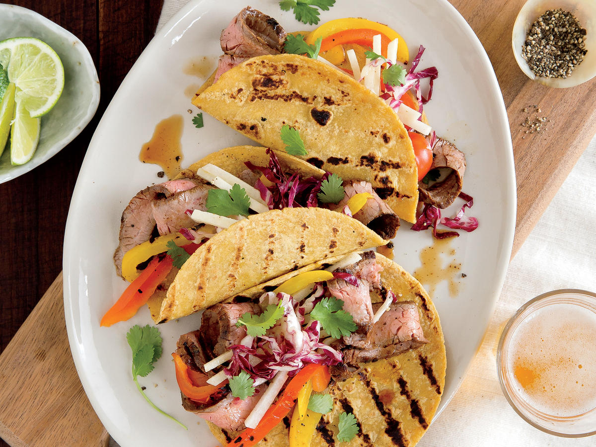 Flank Steak Tacos with Slaw Recipe