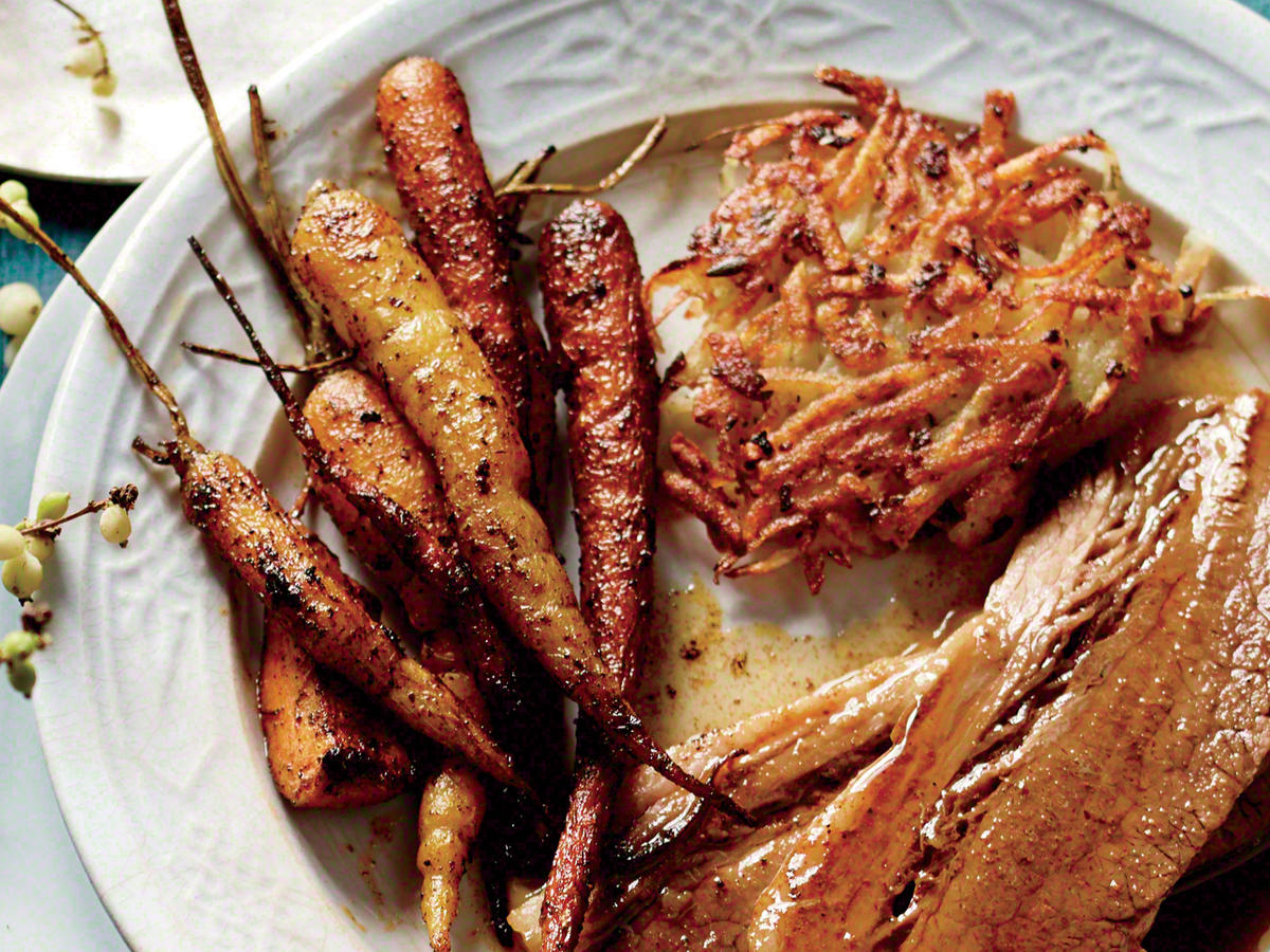 Serve with Moroccan-Spiced Baby Carrots and Potato Latkes