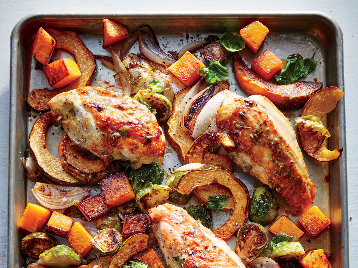 Maple-Mustard Roasted Chicken with Squash and Brussels Sprouts
