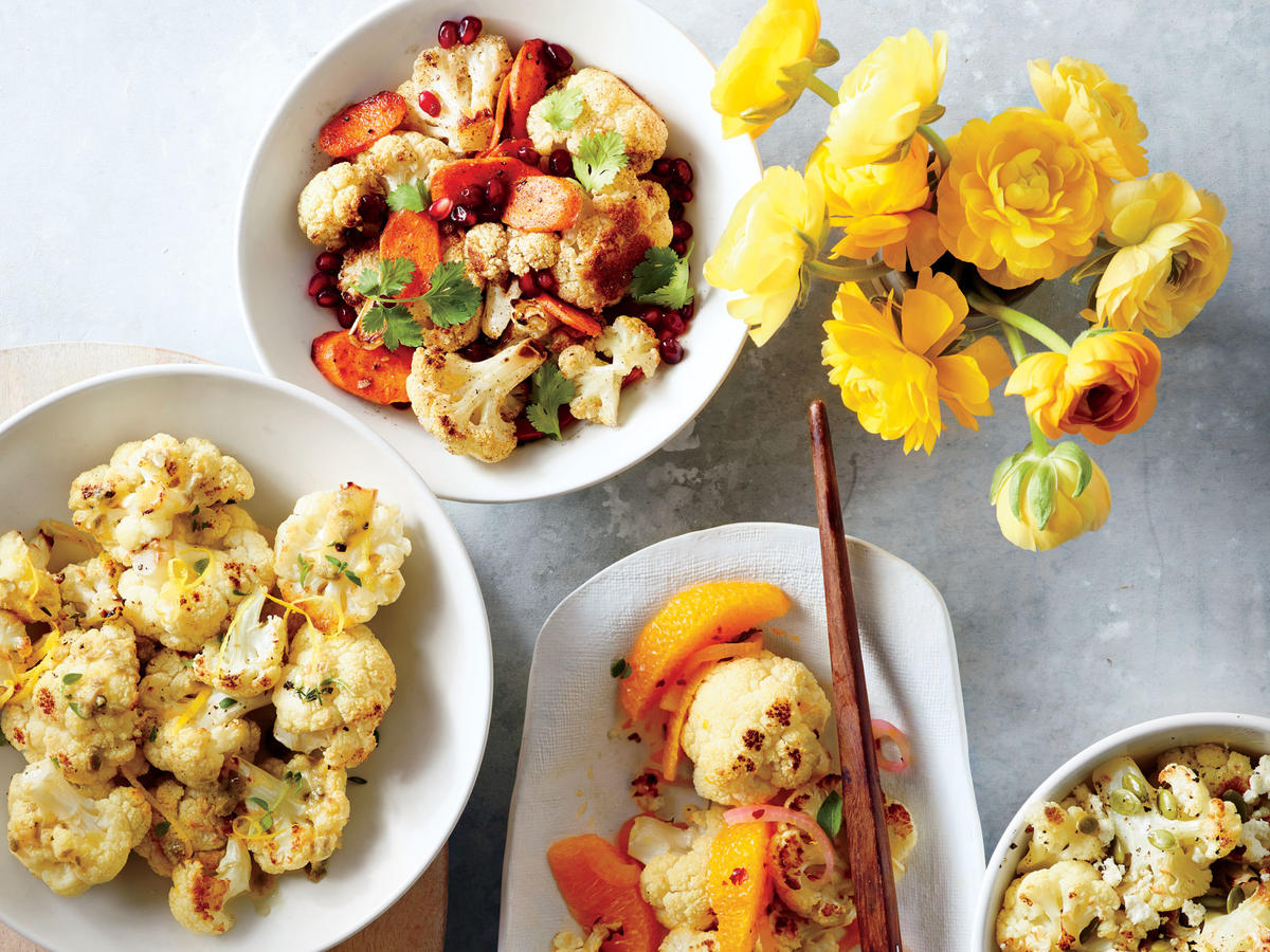Folks can't seem to get enough of cauliflower's mid, slightly nutty flavor. Here we offer 4 fast and delicious ways to enjoy it: Roasted Cauliflower with Lemon-Caper Vinaigrette, Spiced Roasted Cauliflower and Carrots, Roasted Cauliflower with Red Onions and Oranges, or Roasted Cauliflower with Pumpkin Seeds and Queso Fresco.