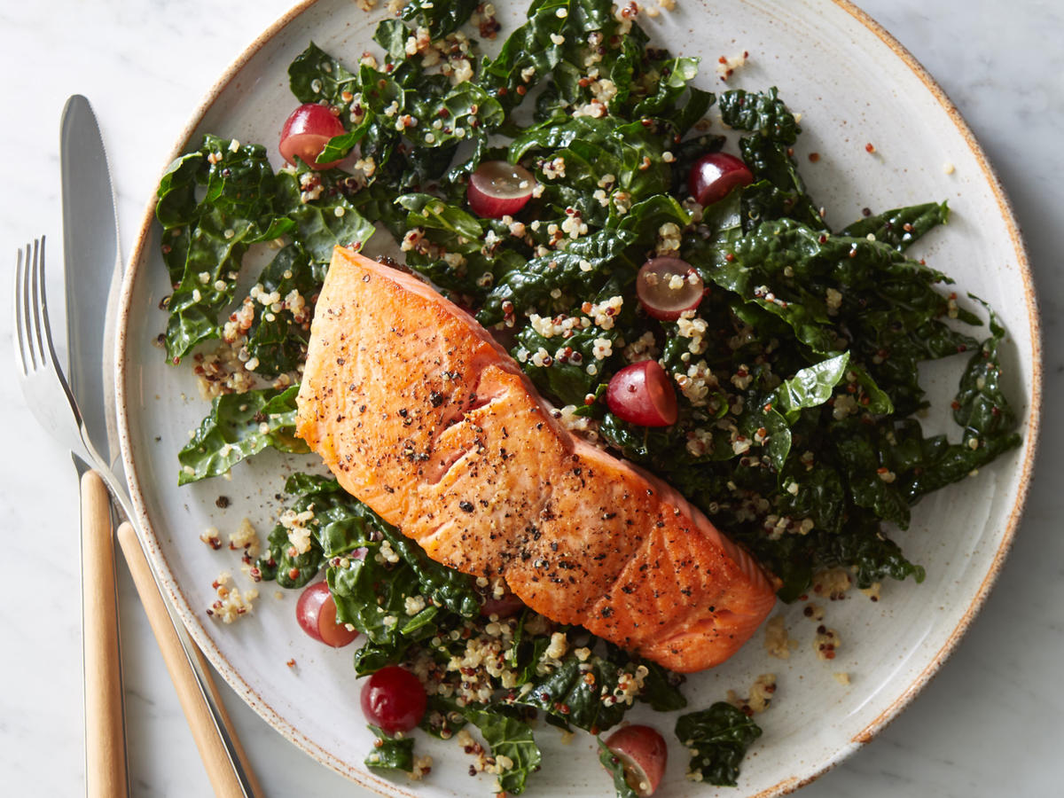 Clone of 1701 Dinner: Roasted Salmon with Kale-Quinoa Salad