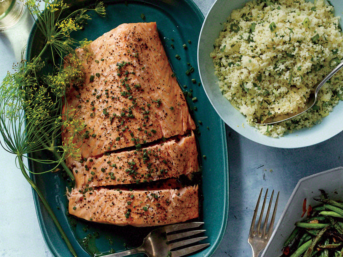 This dish is as simple as it gets, and yet it's very impressive for company. Shallots, dill, and lemon are classic flavorings for salmon. If you can't find crème fraîche, use sour cream.