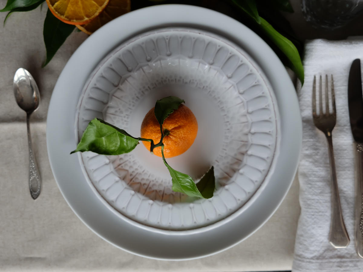 Satsuma on Plate Decor with Food image