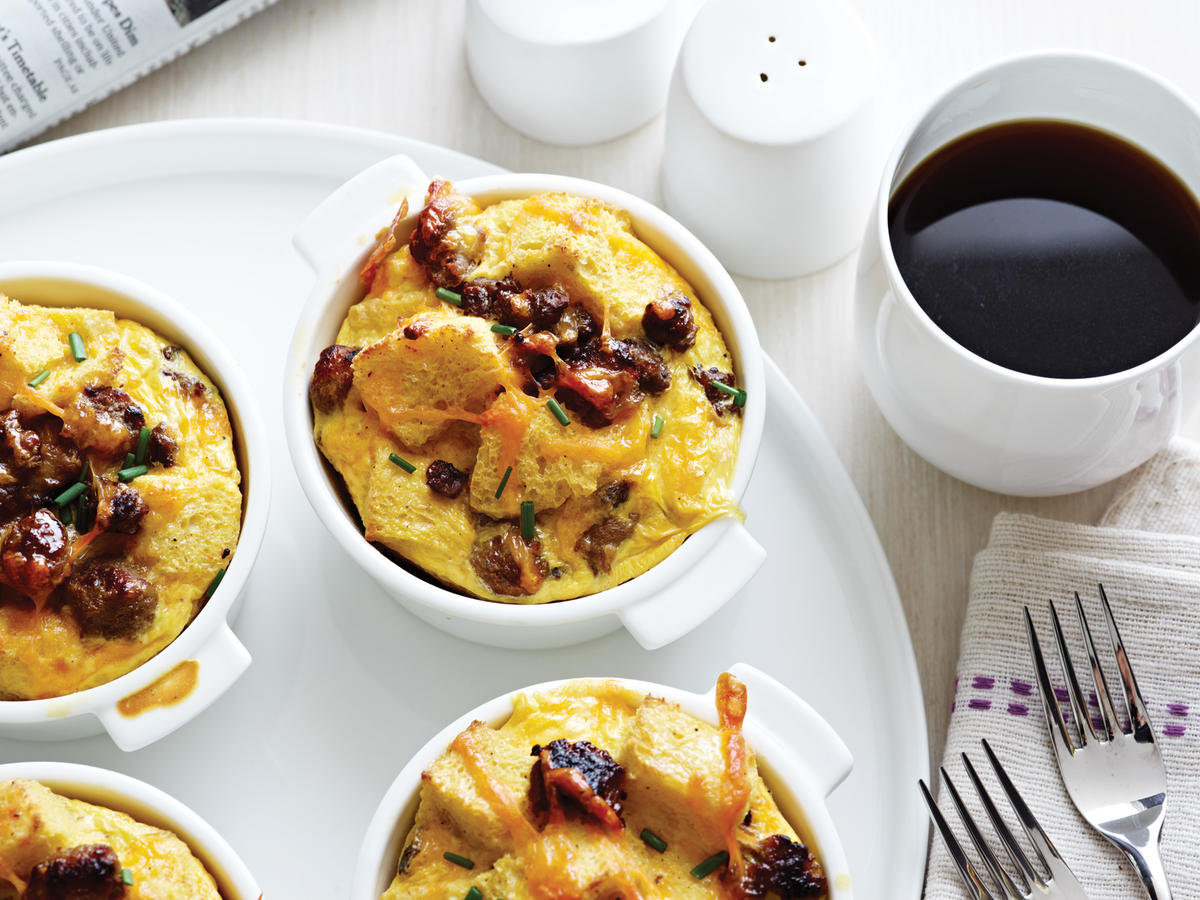Pop a prepared casserole in the oven and let it bake while you sip coffee—that's the way to wake up on a lazy Sunday. Seems like every family has a beloved version of this type of breakfast strata. This one is much lower in fat than most.