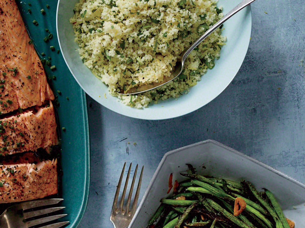 Serve with Lemon Couscous and Garlicky Haricots Verts