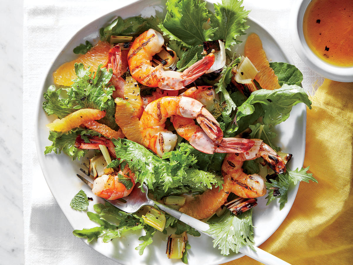 Shrimp With Grilled Citrus and Leek Relish