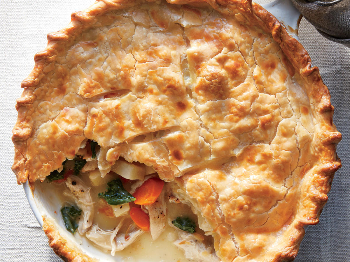 Classic potpies use several pans to simmer and sauté vegetables, build a sauce, and bake the pie. The skillet does it all here, and it is the perfect size for a golden, flaky piecrust lid. No chicken collection is complete without a potpie. You can substitute diced Yukon Gold potatoes and kale or chard for the turnips and turnip greens.