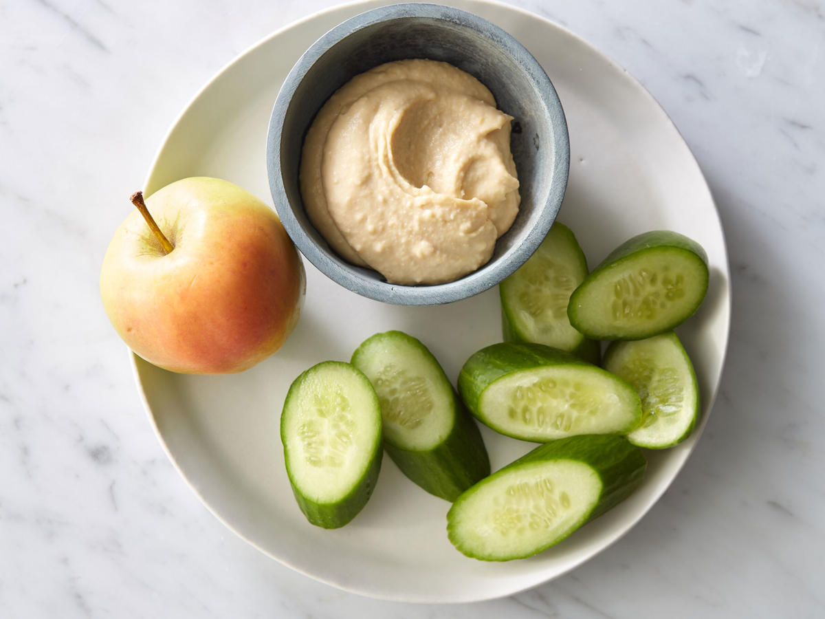 Snack: Hummus with Cucumber and Apple