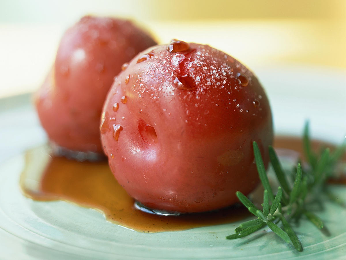 Sugar-Roasted Plums with Balsamic and Rosemary Syrup