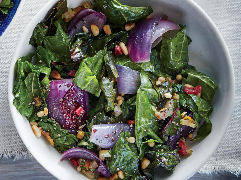 Wilted Chard with Red Onion and Pine Nuts