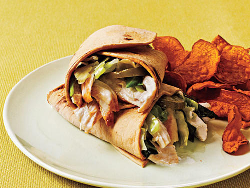 Toss grilled, shredded chicken in a tangy mayonnaise mixture and wrap it up in flatbread along with a shredded cabbage and pickles for a delicious, packable lunch. If just a wrap won't do, pack a serving of TERRA Chips' Sweet Potato Chips.