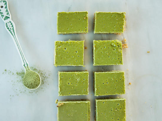 A good hit of lemon rind offers a sunny lift that balances the earthy matcha.When making the pistachio shortbread crust, be sure not to press the mixture too firmly into the dish; that'll compact it and make the crust tough.
