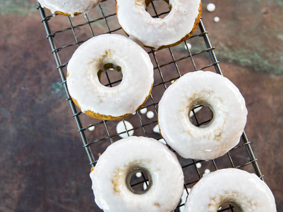 Rejoice, donut lovers—we have a fluffy, whole-grain donut recipe that's quick and easy to make. We like the buttermilk-vanilla glaze, but if you'd like to double-down on the matcha, stir a teaspoon or two into the glaze.