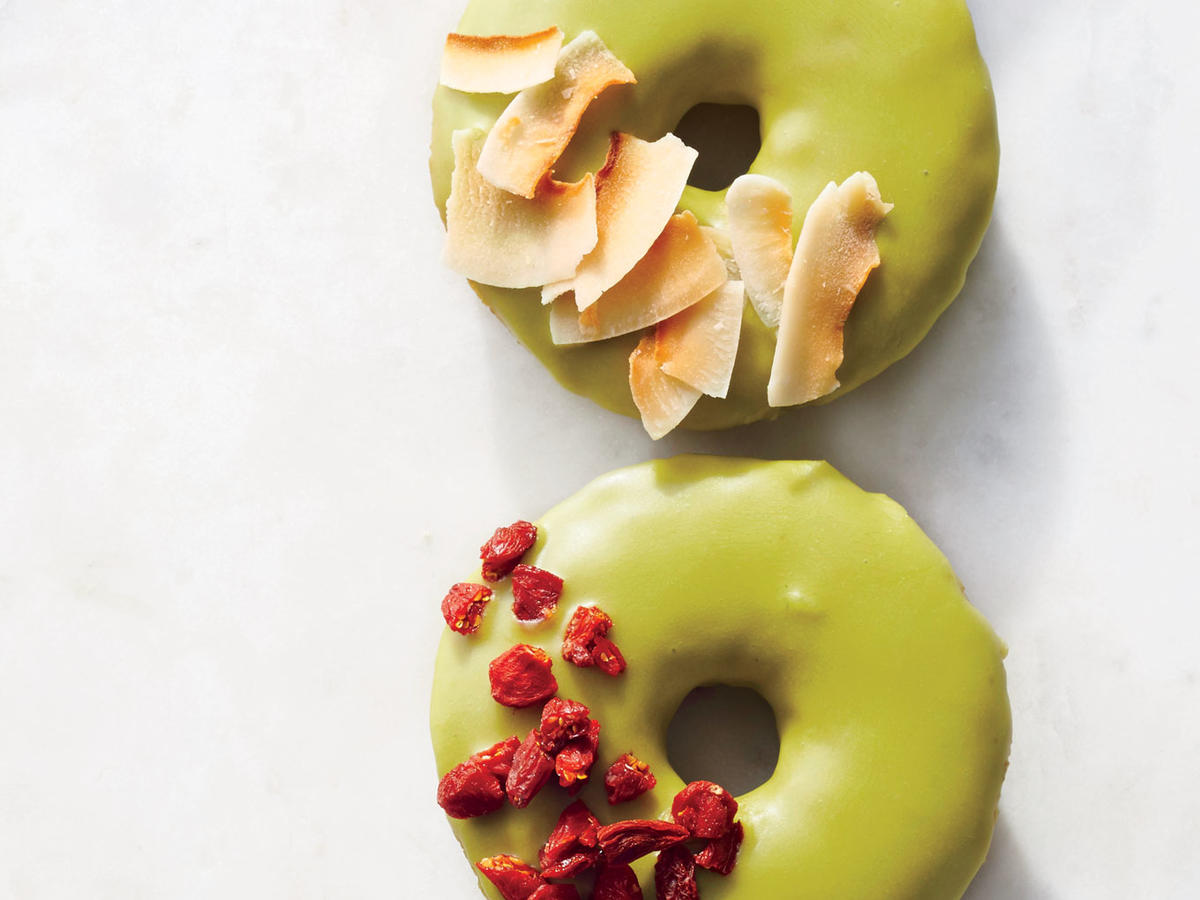 These easy baked donuts benefit from matcha in the batter and in the glaze, where it lends beautiful color. If you're unfamiliar with matcha, it's high-quality green tea that's ground into a fine powder.
