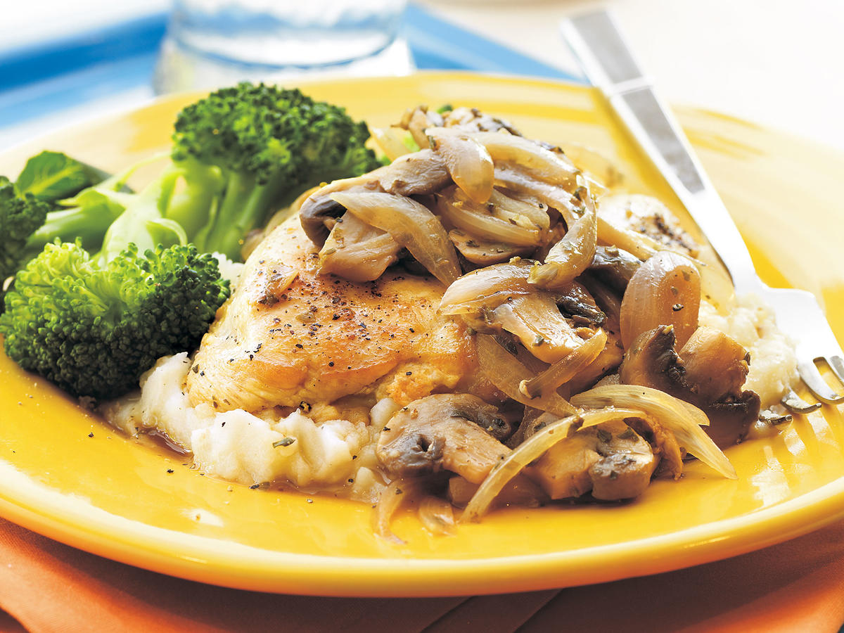 Flavorful herbs and spices, red wine vinegar, shallots, and mushrooms give these plain chicken breasts rich flavor. A veggie side completes this paleo meal. If you don't care to use the red wine vinegar, you can use 1/3 cup of chicken broth.