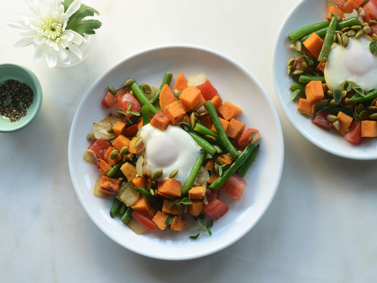 Who knew a simple veggie dish could taste this flavorful? Cumin, cinnamon, and red pepper add warmth to this Peruvian-inspired sweet potato hash. For an added serving of protein, top it with a fried egg. If you're cooking for a sensitive palate, use less red pepper for a mild flavor that everybody can enjoy.