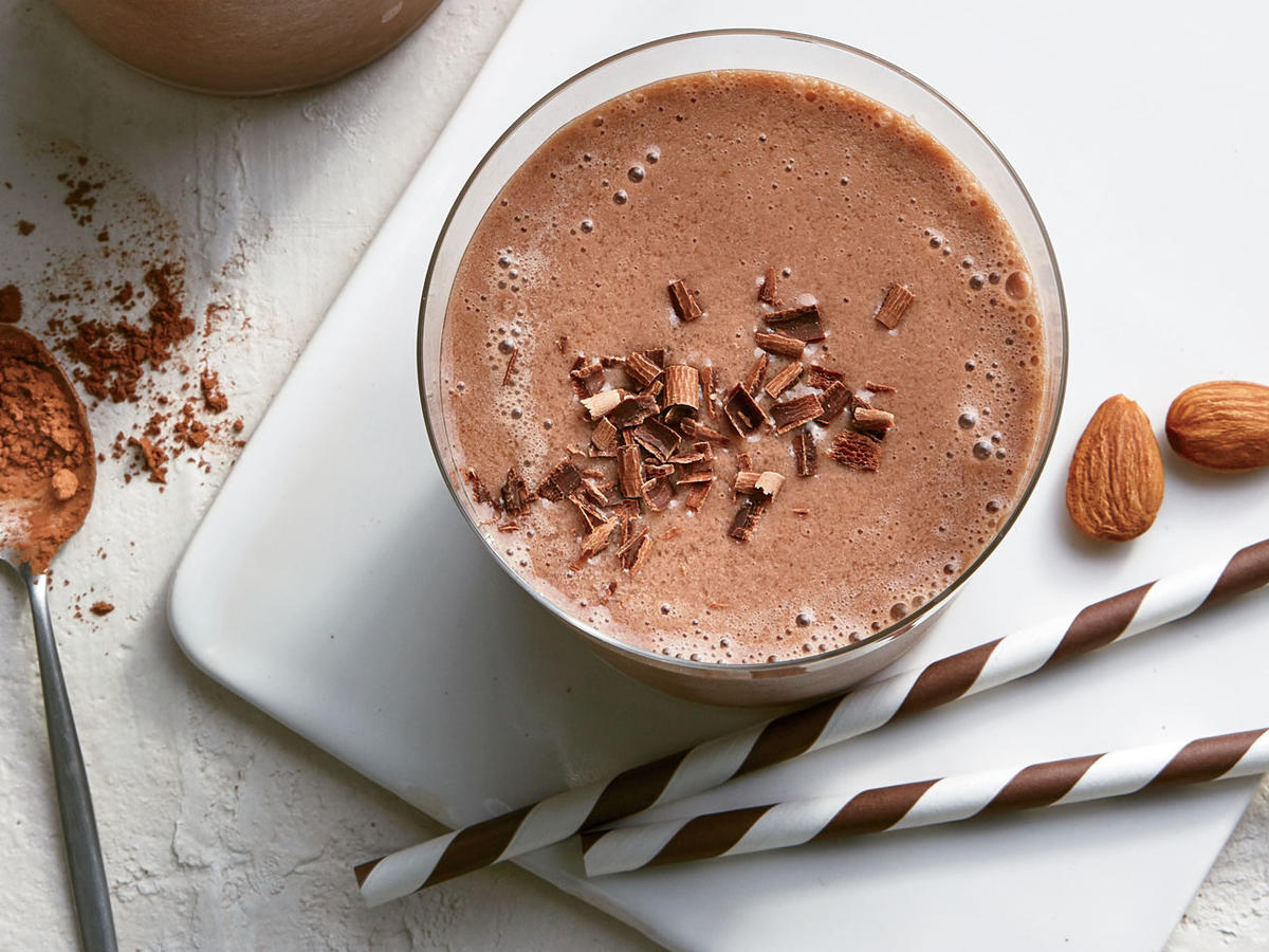 This super-chocolately smoothie is a tasty nondairy option. Dates offer richness and a caramel-like sweetness—naturally—while boosting fiber by 2g. Not a fan of plain chocolate? Try our Chocolate Peanut Butter variation with natural peanut or almond butter, or the lighter flavor of our Chocolate-Raspberry Smoothie made with frozen unsweetened raspberries.