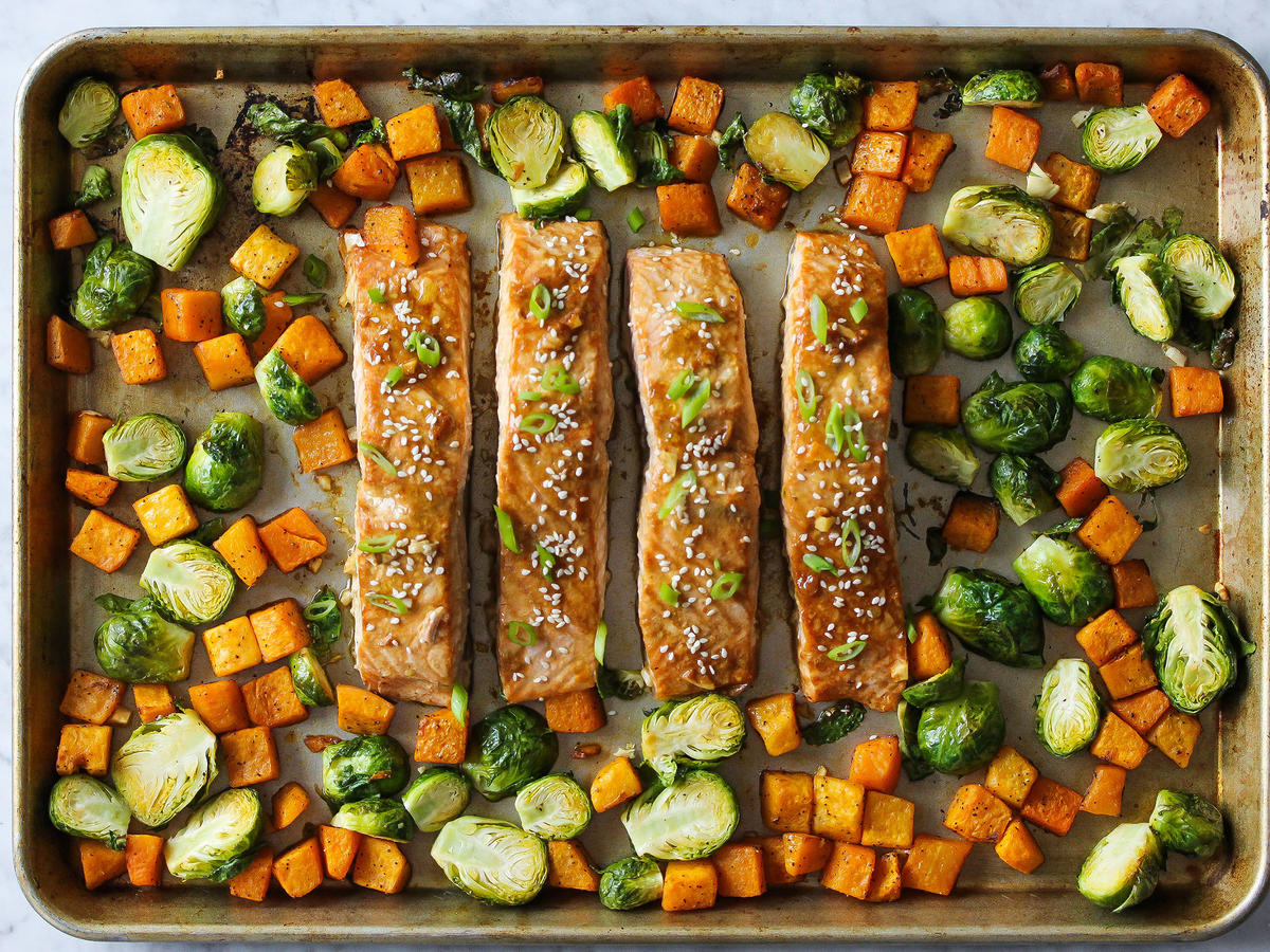 Sheet Pan Honey Soy Salmon Dinner