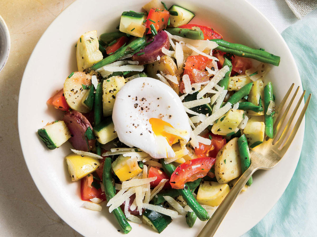 Vegetable Hash with Poached Eggs