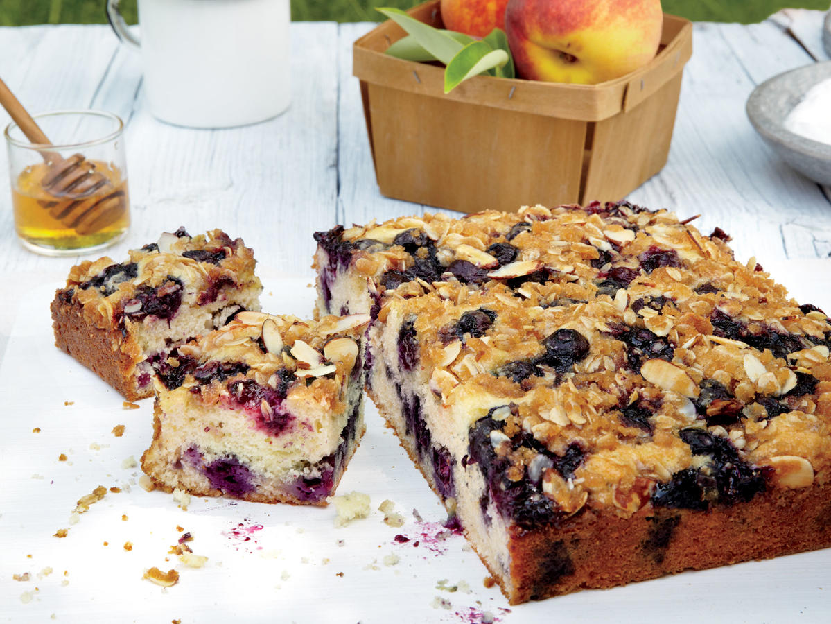 One bite and you will add this moist cake to your favorites list—it shows off the fruit to perfection. If you go blueberry picking this summer, freeze some for the winter; you can prepare this cake with frozen (unthawed) berries—bake a few minutes longer as needed.