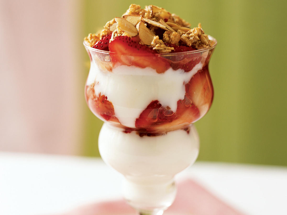 "This five-ingredient parfait is perfect for a healthful on-the-go breakfast. ruthieright21 says, ""This was a quick and easy summer breakfast. I layered granola throughout the whole parfait (instead of just on top) for extra crunch."""