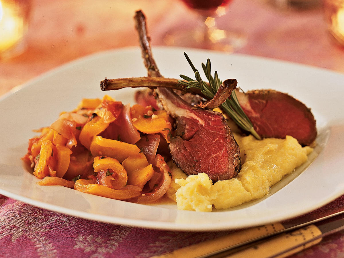 Healthy and romantic dinner recipes for two cooking light recipe for two fennel and rosemary crusted roasted rack of lamb forumfinder Images