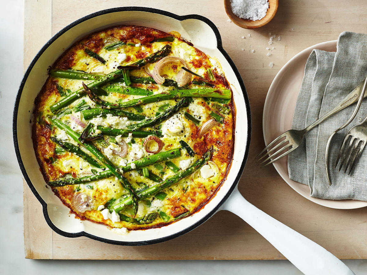 Feta, Green Onion, and Asparagus Frittata