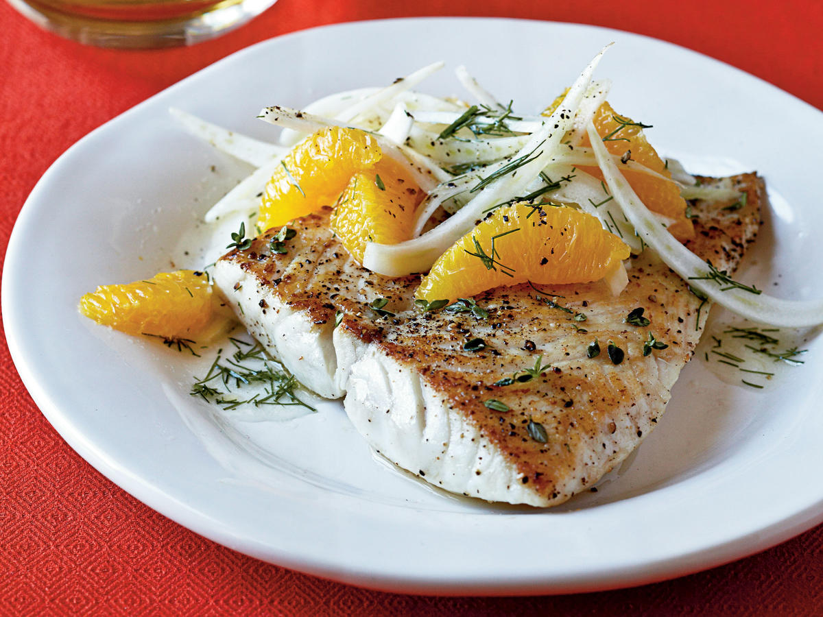 The salad brings bright, fresh Mediterranean flavors to this simple fish dish. A mandoline slices fennel evenly.
