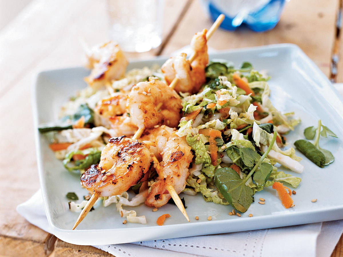 More adventurous greens, such as napa cabbage and watercress, add crunch. Shrimp boosts levels of lean, low–saturated-fat protein and omega-3s, while sesame seeds offer the minerals iron, magnesium, and zinc.