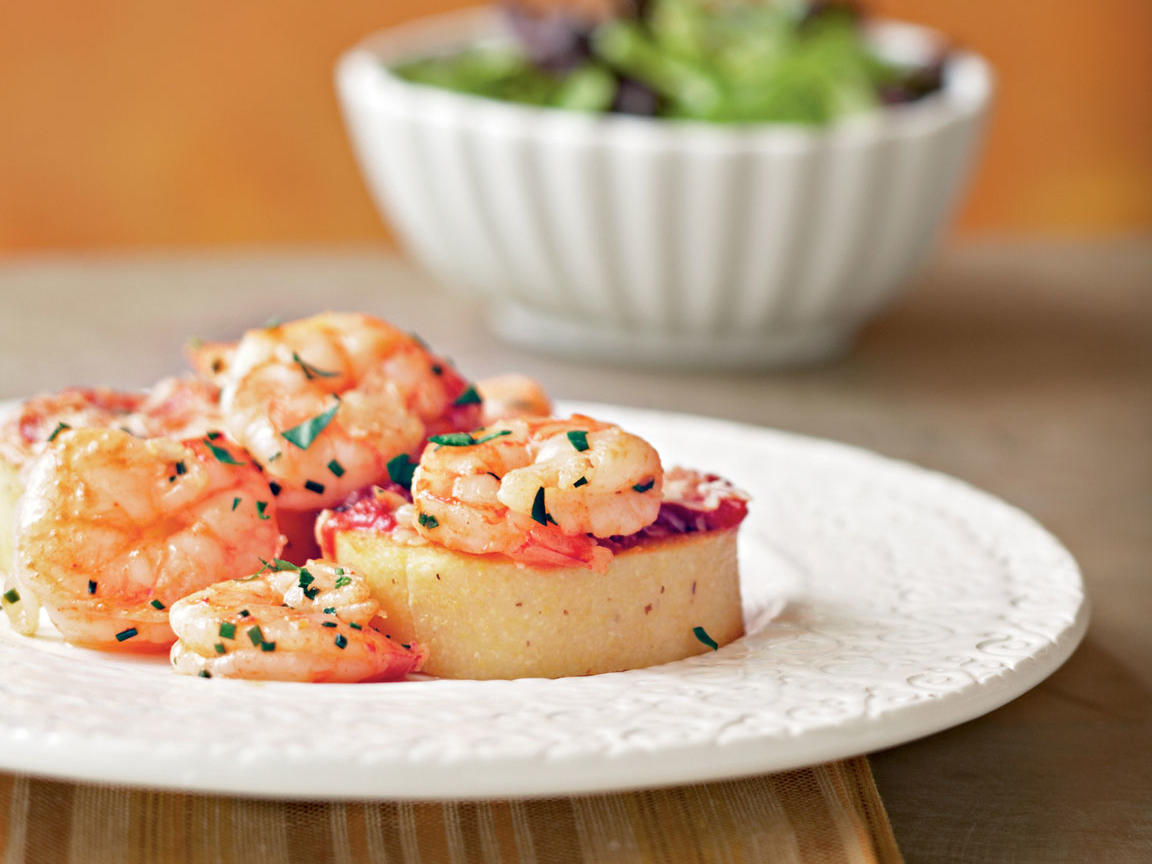 Smoky Shrimp And Parmesan Polenta Cakes