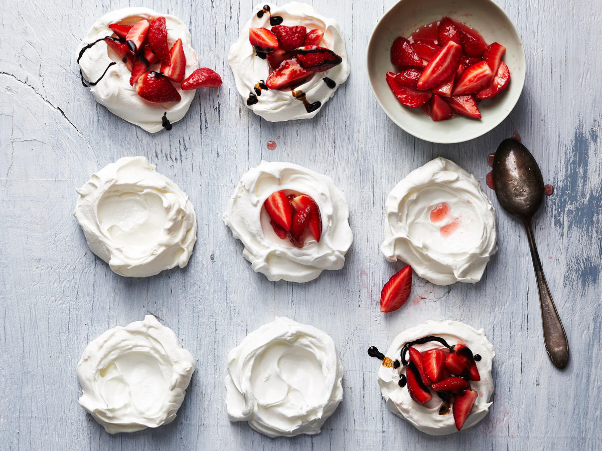 Strawberry-Topped Pavlovas with Honey-Balsamic Sauce Dessert Recipes