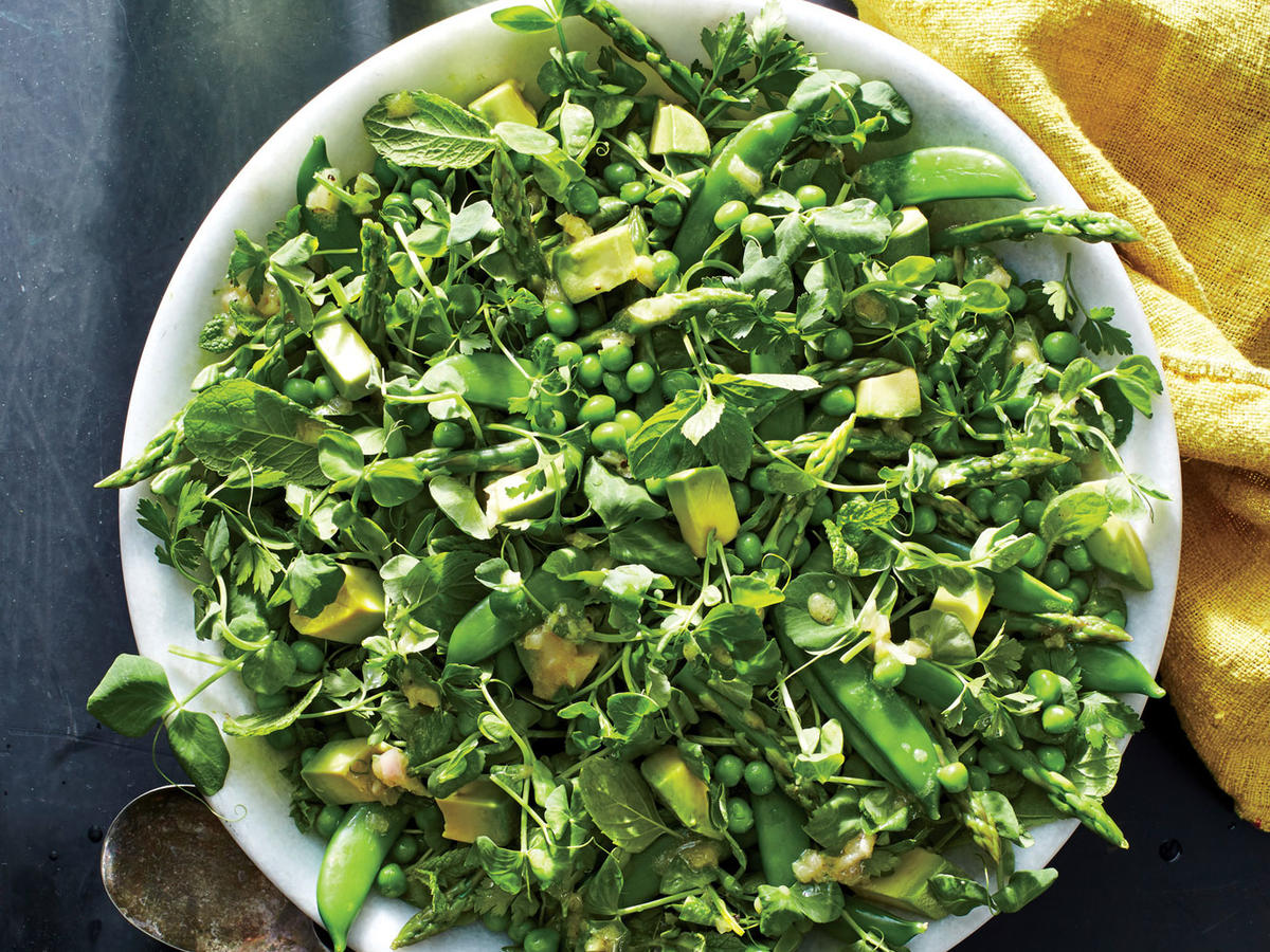 This salad is full of lovely textures ranging from crunchy to creamy. You can make the zippy lemon dressing and blanch, drain, and chill the peas and asparagus up to 2 says ahead, but combine all the elements shortly before serving to preserve the color of the avocado and the crunch of the greens.