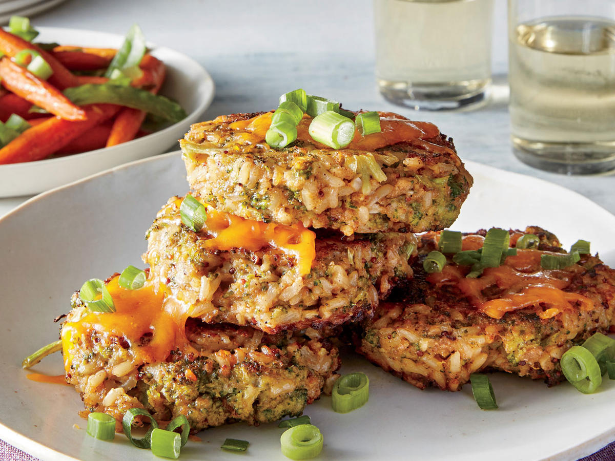 These quick, crispy vegetarian cakes are inspired by cheesy broccoli-and-rice casserole, right down to the layer of melted cheddar cheese on top. Make the cakes ahead and refrigerate or freeze for a last-minute meal. You could also increase the number of servings and serve the cakes as a side with a simple tomato soup. Grainy mustard packs a welcome punch and adds great texture to the cakes. It's also fantastic in creamy sandwich spreads, rémoulade sauce, and glazes with a sweet base (such as maple syrup or honey) for contrast and balance.