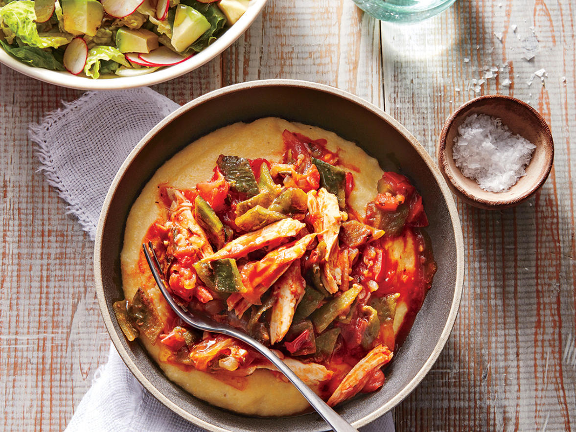 Chicken and Poblano Stew with Polenta