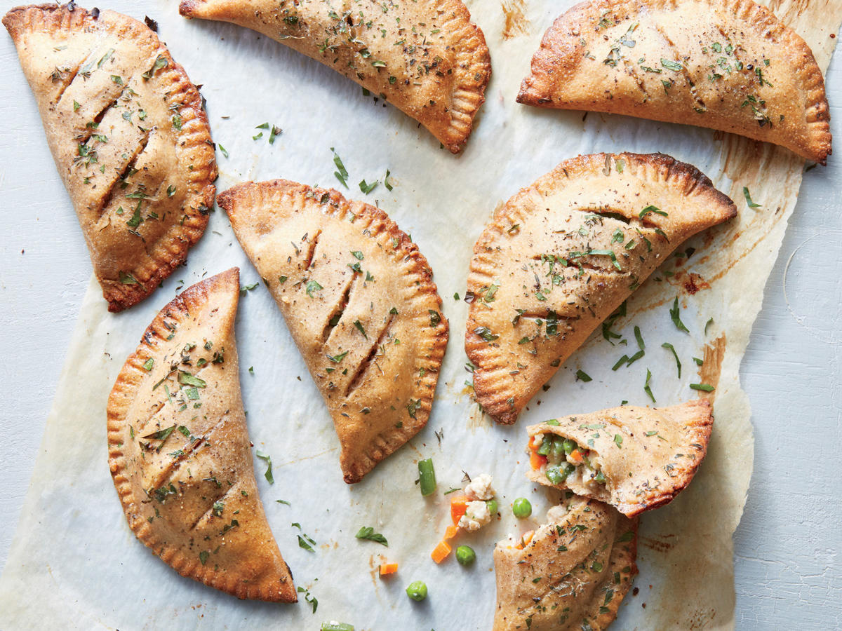 Enjoy portable potpie with extra veggies and hearty whole grains. Both family- and freezer-friendly, these hand pies deliver a hearty meal to go.