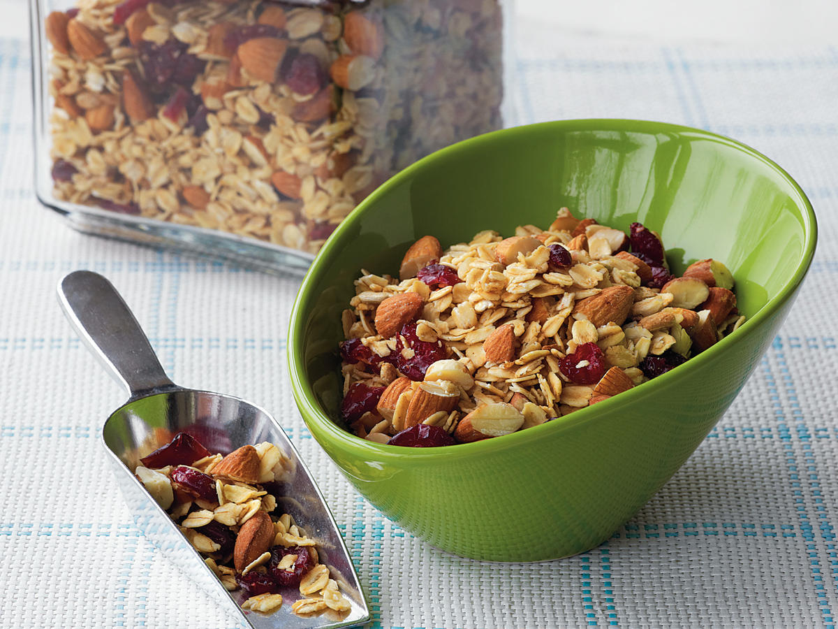 Think of this granola as a topping rather than a cereal. Instead of getting your kids all hopped-up on a full bowl (it's loaded with delicious maple syrup), sprinkle it over yogurt with fresh blueberries or raspberries on top. You'll still get the wonderful taste of the granola and the health benefits of the oats without too much sugar.
