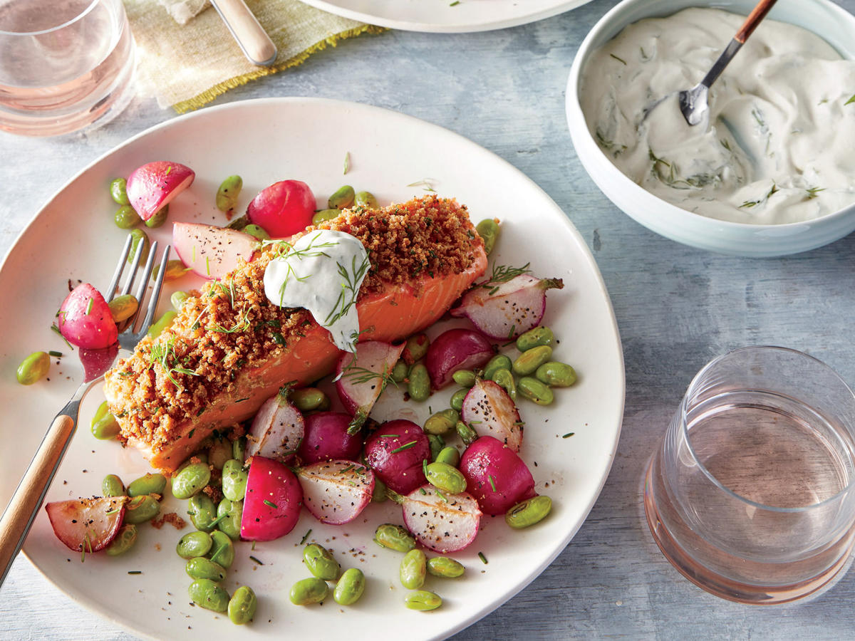 Friday: Dijon-Herb Crusted Salmon with Creamy Dill Sauce + Warm Buttered Radish and Edamame Salad