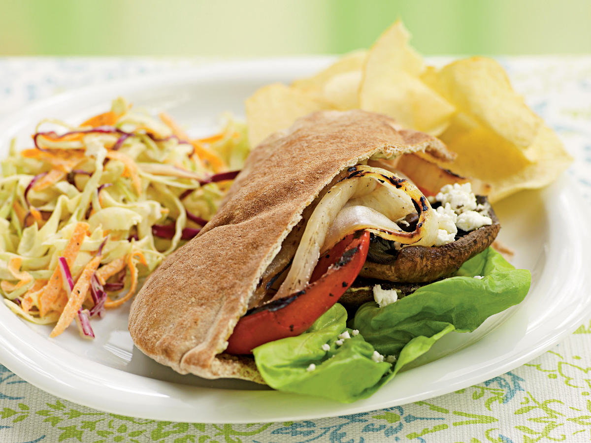 Grilled Vegetable Pitas with Goat Cheese and Pesto Mayo Vegetarian Recipe