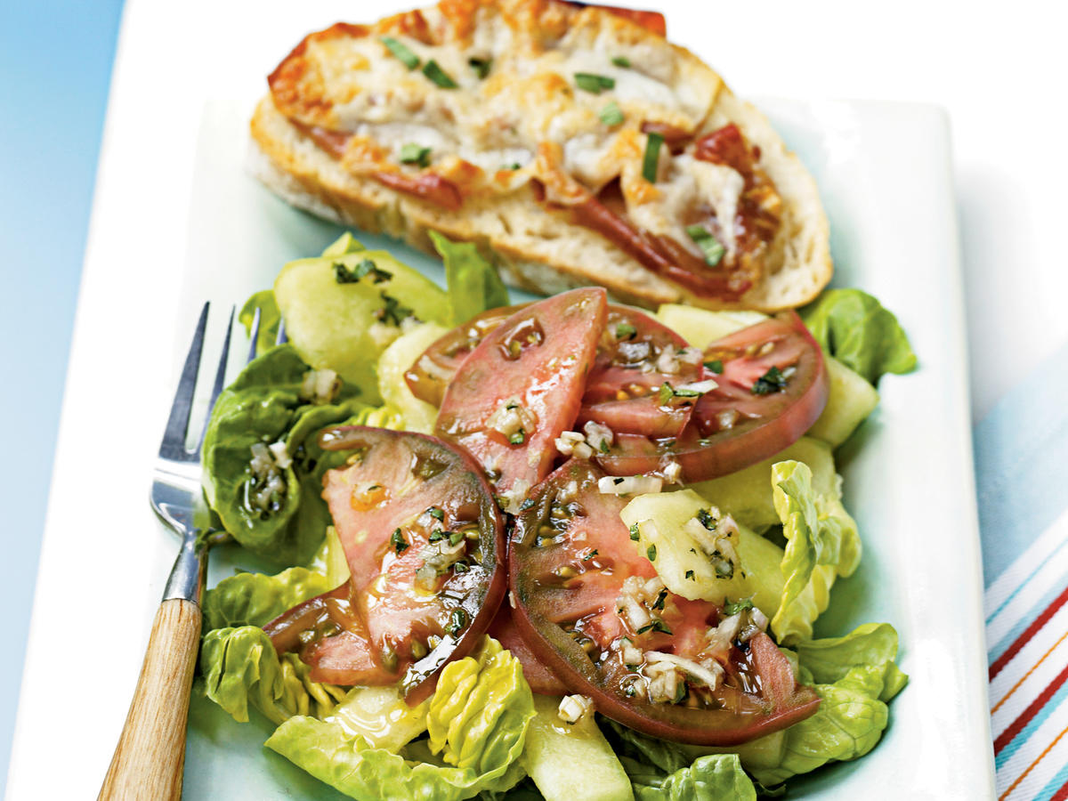 Ham and Cheese Tartines with Cherokee Purple Tomato Salad