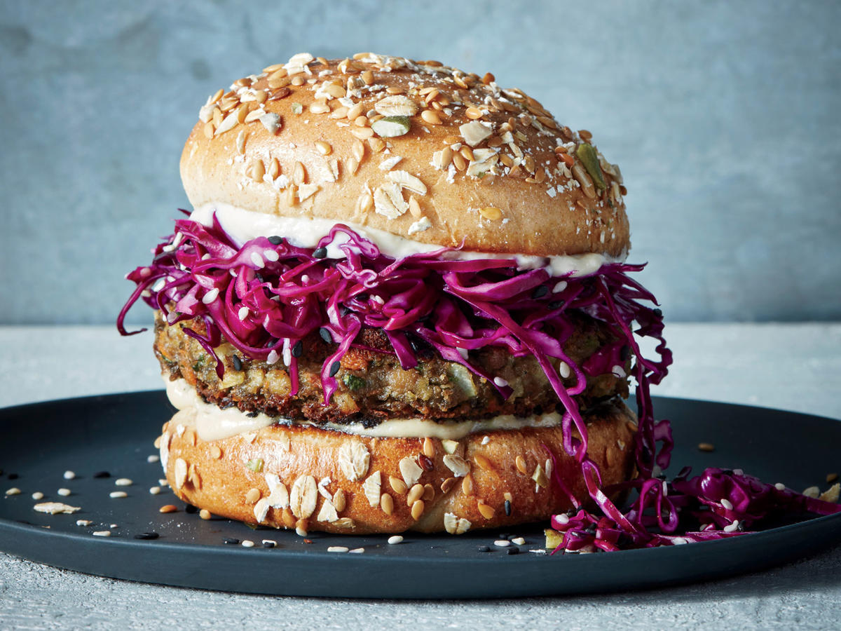 1807 Lentil-Tahini Burgers With Pickled Cabbage