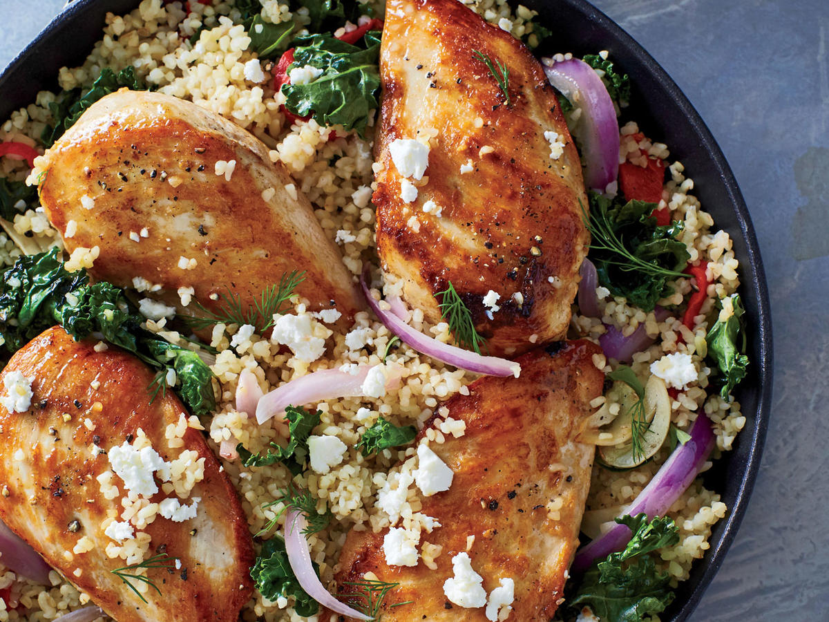 You'll be delighted by the incredible results from this one-pot wonder: tender, fluffy bulgur; creamy feta; and moist chicken. You don't even need a sauce since there's so much flavor in the pan. It's a complete meal, though you could serve with a side salad if you'd like.