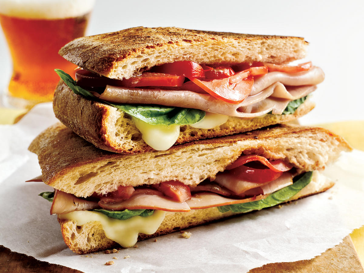 Mozzarella, Ham, and Basil Panini