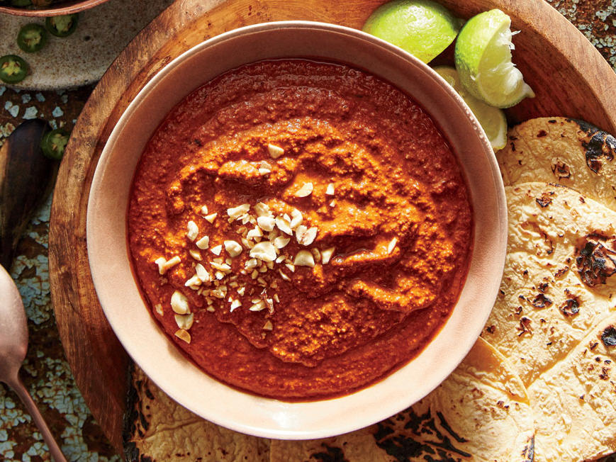 In Mexico City's Narvarte neighborhood, most of the taquerias offer a version of this spicy, nutty sauce Pair this rich salsa with grilled shrimp, pork, or poultry.