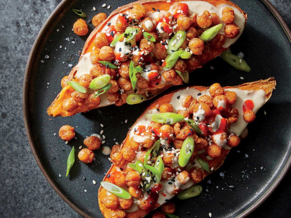 Sesame-Ginger-Chickpea-Stuffed Sweet Potatoes