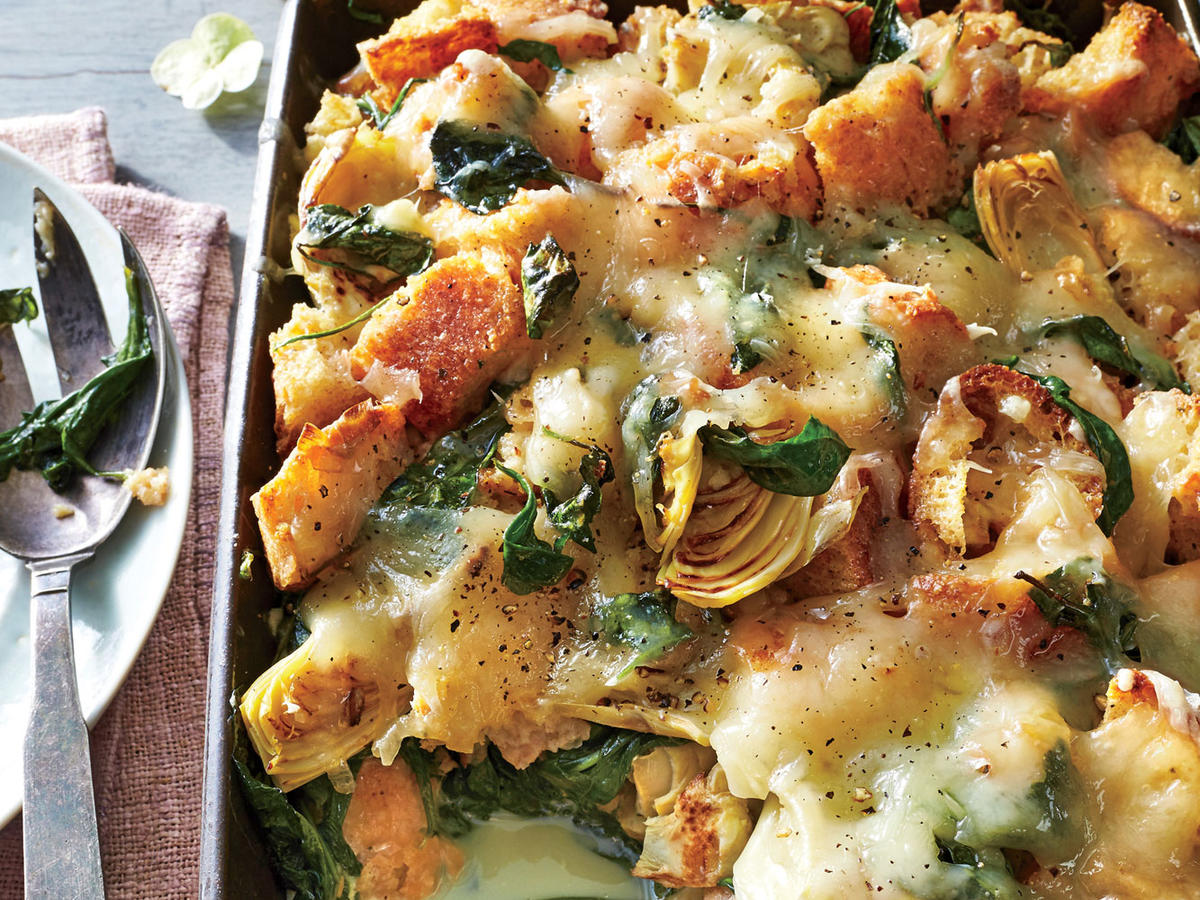 Strata Recipes spinach-artichoke strata recipe - cooking light