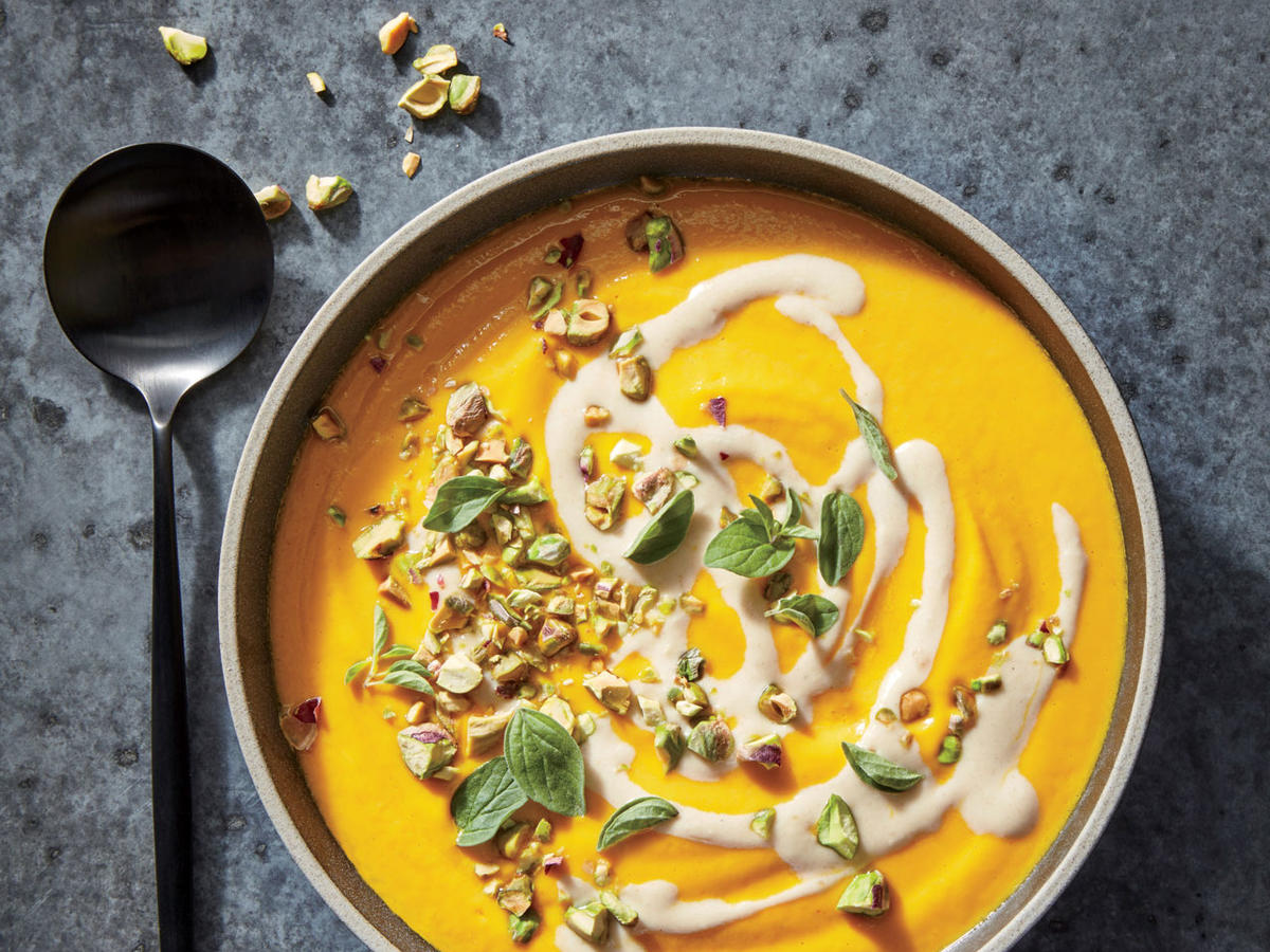 Tahini-Carrot Soup with Pistachios