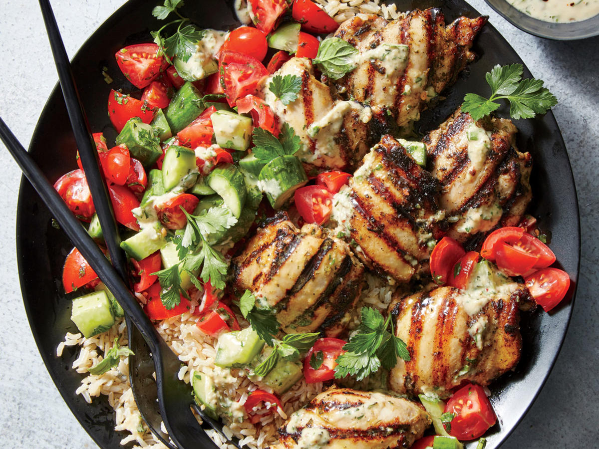 Adding tahini to the marinade makes the chicken buttery tender without an overwhelming amount of sesame flavor in the finished dish. It also helps the chicken to char nicely on the grill.