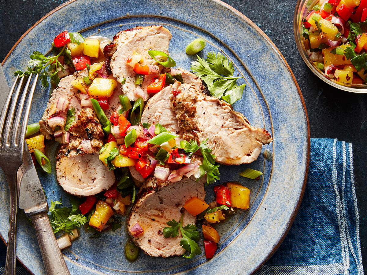Adobo-Marinated Pork Tenderloin with Grilled-Pineapple Salsa